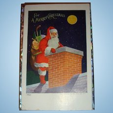 1907 Ullman Christmas Postcard with Older Santa Claus Chimney
