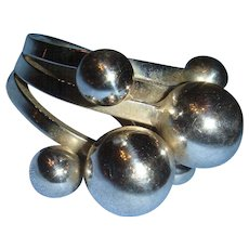 Sterling Silver Ornate Modernist Stacking Beaded Ball Ring Triple Shank