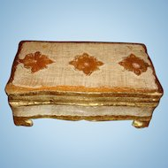 Florentine Made in Italy Gold Gesso and Wood Footed Box