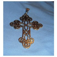Sterling Silver Open Work Design Within a Design Filigree Cross 3 + Inches Long