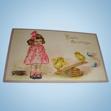 Early Easter Greetings Embossed Postcard Goggle Eyed Girl Baby Chicks on Seesaw