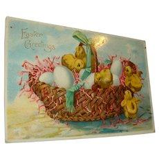 1910 Easter Greetings German Gel Postcard Basket of Eggs and Baby Chicks