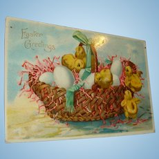 1910 Easter Greetings German Gel Postcard Basket of Eggs and Baby Chicks