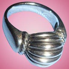 Sterling Silver Joseph Esporito Modernist or Contemporary Style Ring Size 8 1/4