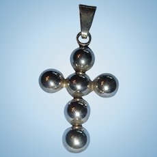 Mexico Sterling Silver Beaded Cross