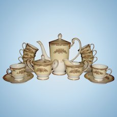21 Piece Chocolate Pot  or Teapot Set Noritake Occupied Japan Gold Gilded Enameled