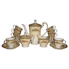 21 Piece Chocolate Pot  or Teapot Set Noritake Occupied Japan Gold Gilded Enameled