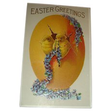Heavily Embossed Easter Postcard Two Baby Chicks, Violets, Forget Me Nots