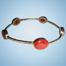 Sterling Mexico HOB Red Jasper or Coral Bangle Bracelet