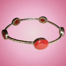 Sterling Mexico HOB Red Jasper or Coral Bangle Bracelet