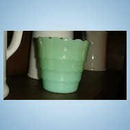 Anchor Hocking Fire King Jadite Scalloped Flower Bulb Pot