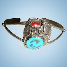 Native American W. Begay Navajo Sterling Silver Turquoise and Coral Cuff Bracelet