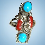 Native American Long Turquoise and Red Coral Sterling Silver Ring Size 9