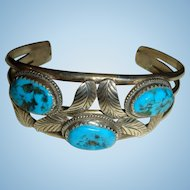 Navajo J. Quirino Sterling Silver Leaves and Turquoise Bracelet