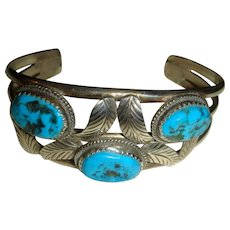On Hold for L to Complete Purchase Navajo J. Quirino Sterling Silver Turquoise Bracelet