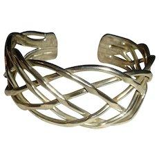 30 Grams Open Work  Sterling Silver Modernist Cuff Bracelet