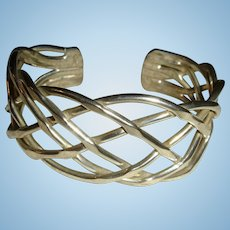 30 Grams Open Work  Sterling Silver Modernist Cuff Bracelet