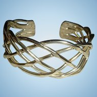 30 Grams Sterling Silver Modernist One Inch Wide Cuff Bracelet
