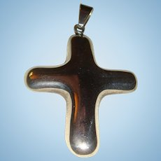 Sterling Silver Mexico Simple and Sleek Cross Pendant