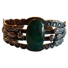Native American Navajo Sterling Turquoise Cabochon Thunderbird Bracelet As Found