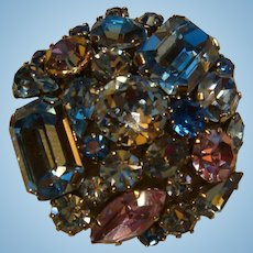 Sparkling Austria Crystal Glass Stones Brooch Mixed Cut Stones