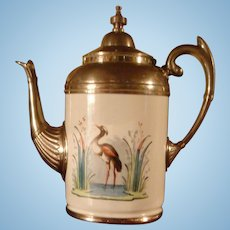 Ornate Pewter and Enameled Coffee Pot Graniteware Manning Bowman Near Perfect