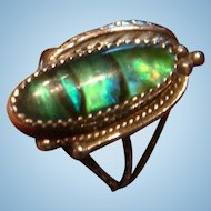 Navajo Circle J. W.  Sterling Leaf and Green Abalone Ring