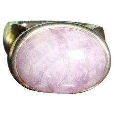 Sterling Espo Sig Ring Purple Cabochon Cradle Setting