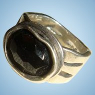 Sterling Silver Israel Didae Modernist Black Faceted Onyx Ring Size 7 3/4