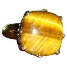 Sterling Silver Ring Tiger Eye Cabochon Fleur de Lis Sides