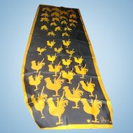 Like New Designer  Vera Neumann Scarf Navy with Gold Roosters