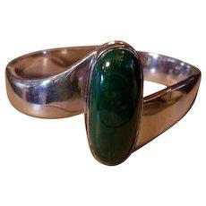Sterling Silver Large Green Malachite Cabochon Bracelet 80 Grams