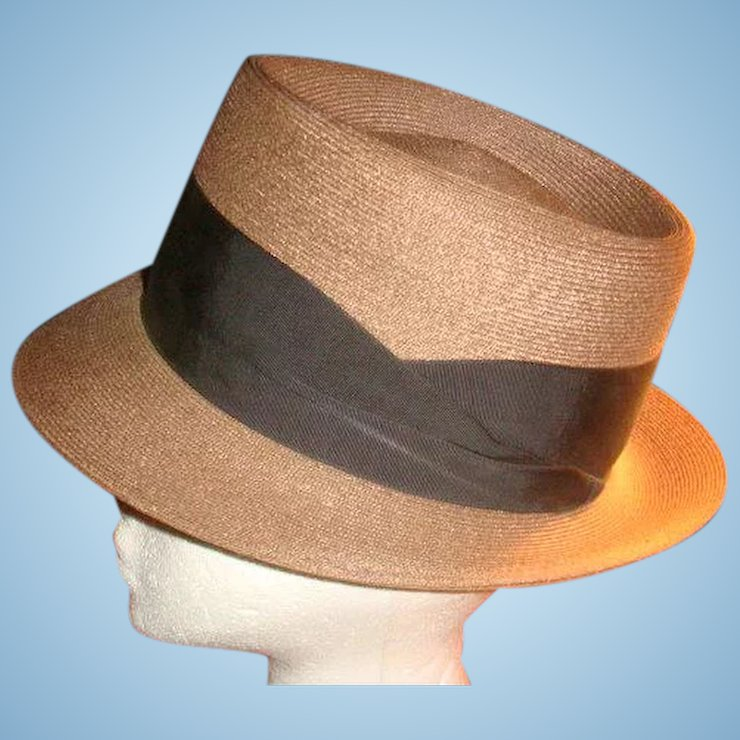 Dobbs Fifth Avenue Dressy Tightly Woven Brown Fedora Hat   The Loft  Antiques  ee9690e150f
