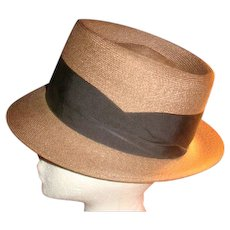 Dobbs Fifth Avenue Dressy Tightly Woven Brown Fedora Hat