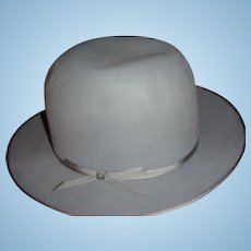 Vintage Royal Stetson High Crown Fedora Gray Hat Original $10 Tag
