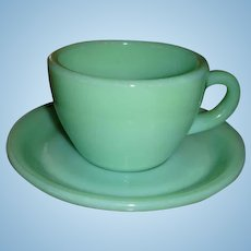 Fire King Jadite Heavy Restaurant Ware Cup and Saucer Set (s) Minty