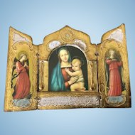 Miniature Italian Florentine Tryptich Gesso Mother Mary and Christ Child, Angels