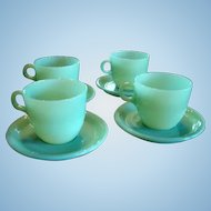 Fire King Jadite St. Denis Cups and  Saucers