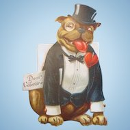 Early Colorful Die Cut Valentine Bulldog in Tuxedo