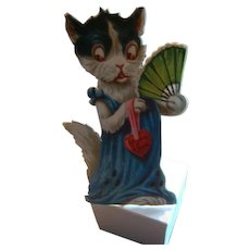 HOLD FOR DIANA TO PURCHASE  Early Stand Up Die Cut Cat Valentine with Victorian Style Fan