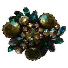Going Green Brooch Art Glass Cabochons