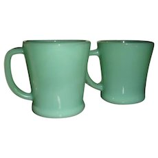 Two Fire King Jadite D Handle Mugs Coffee and Flat Bottom