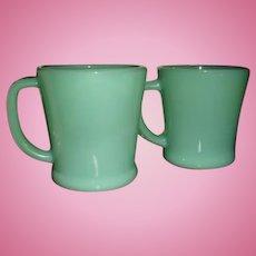 Two Fire King Jadite D Handle Mugs Coffee and Flat Bottom
