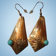 Sterling Silver Stamped Bezel Set Turquoise Dangle Earrings French Hook