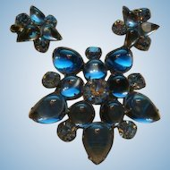 Weiss Sparkling Sky Blue Cabochons and Rhinestones Brooch and Earrings