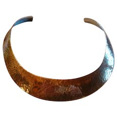 Stunning Hammered Sterling Silver Collar Necklace