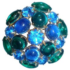 Sapphire Blue and Emerald Cabochons and Rhinestones Brooch