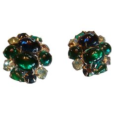 Weiss Vintage Sapphire Blue and Emerald Green Cabochons Rhinestones Earrings