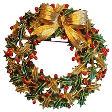 Large Weiss Christmas Enamel Brooch Holly Berries and Leaves Wreath