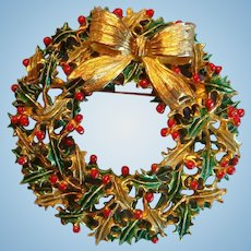 Large Weiss Christmas Enameled Holly Berries and Leaves Wreath Brooch